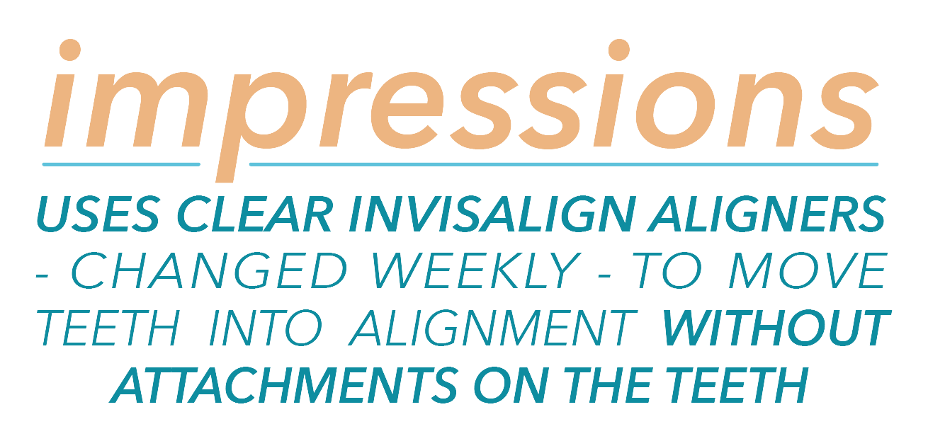 Impressions uses clear Invisalign aligners changed weekly to move teeth into alignment without attachments on teeth