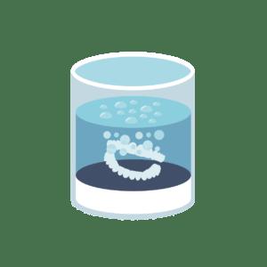 Soak aligners in hydrogen peroxide and water mixture.