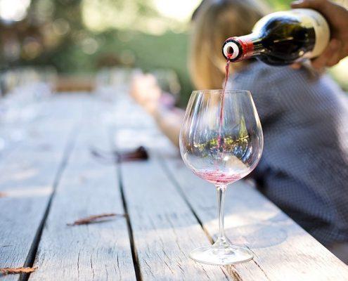 Wine being poured at vineyard in Western North Carolina