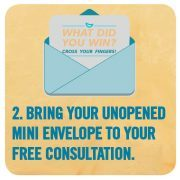 Graphic reminding people to bring their envelope to their first consultation